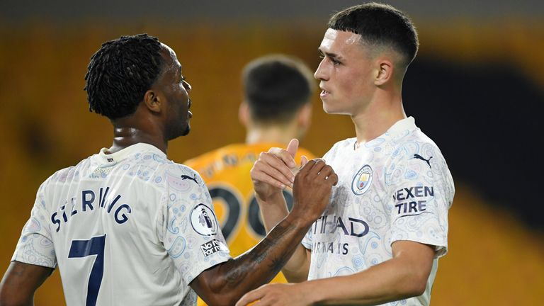 Phil Foden celebrates his goal with Raheem Sterling