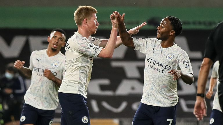 Raheem Sterling congratulates Kevin De Bruyne after the Belgian puts Man City 1-0 up