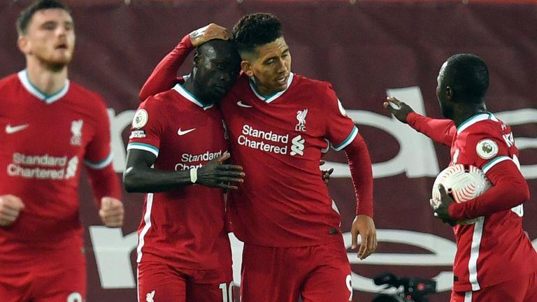Sadio Mane celebrates his equaliser with his team-mates