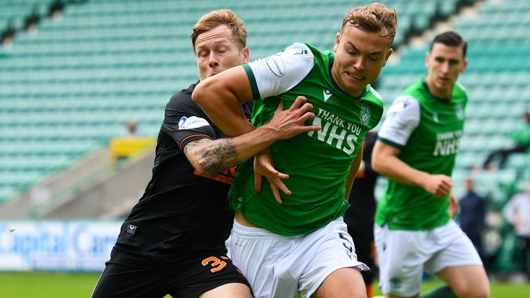 Scott Arfield (L) and Ryan Porteous in action during a Scottish Premiership match between Hibs and Rangers