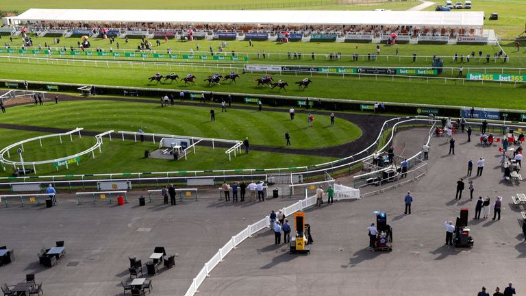 Latest Generation ridden by jockey William Buick wins the British Stallion Studs EBF Maiden Stakes during the St Leger Festival at Doncaster Racecourse on September 9, 2020 in Doncaster, England. As part of a pilot scheme to reintoduce the public back to horse racing following the Coronavirus Pandemic, a limited number of racegoers will admitted into the course for the St Leger Festival.