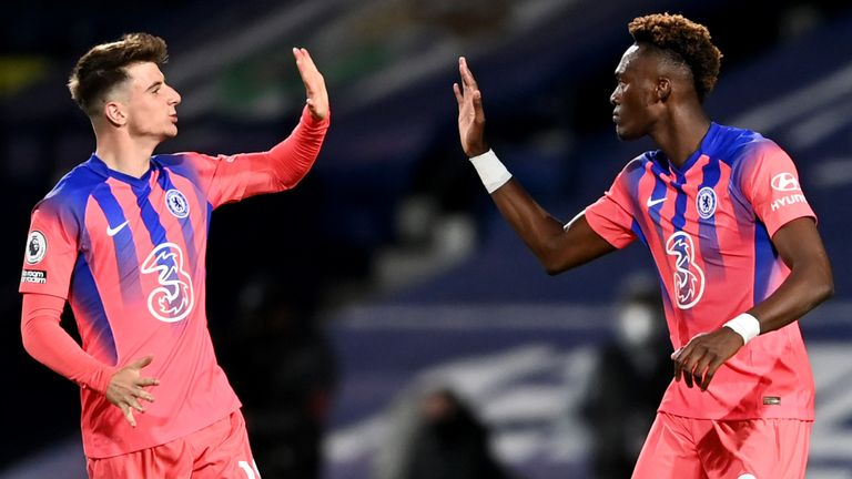 Chelsea's English striker Tammy Abraham (R) celebrates with Chelsea's English midfielder Mason Mount (L) after scoring their third goal during the English Premier League football match between West Bromwich Albion and Chelsea at The Hawthorns stadium in West Bromwich, central England, on September 26, 2020.