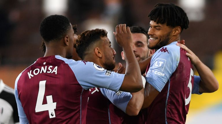 Villa goalscorer Tyrone Mings celebrates their third with team-mates