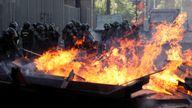 Fires burn in Santiago