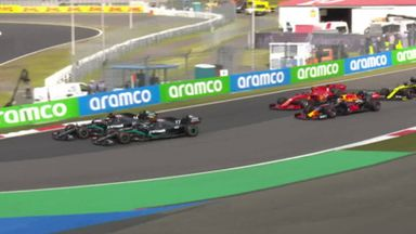 Hamilton-Bottas battle into Turn One