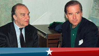 Sen. Joe Biden (D-DE) speaks with Bosnian President Alija Izetbegovic in Sarajevo, Bosnia April 9, 1993. REUTERS/Chris Helgren