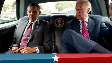 F7NK6N US President Barack Obama and Vice prsident Joe Biden travel from White House to Ronald Reagan Building in Washington, July 21, 2010