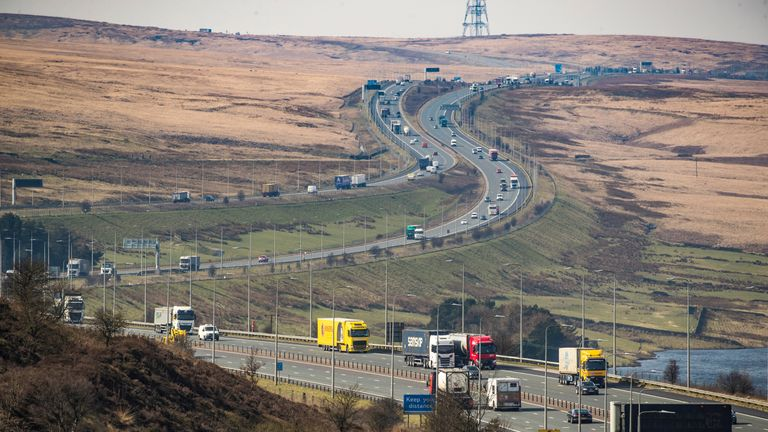 Traffic on the M62 near Booth Wood in West Yorkshire, the day after Prime Minister Boris Johnson put the UK in lockdown to help curb the spread of the coronavirus.