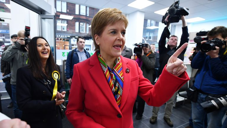 "RUTHERGLEN, SCOTLAND - NOVEMBER 04: First Minister Nicola Sturgeon visits Burnside Pharmacy and Cafe Gelato, while on the election campaign trail on November 4, 2019 in Rutherglen, Scotland. Meeting voters and activists with SNP candidate for Rutherglen and Hamilton West, Margaret Ferrier, Nicola Sturgeon said, ""Boris Johnson is desperate to do a post Brexit trade deal with Donald Trump, which will undoubtedly include prescription drug prices and access to the NHS.  (Photo by Jeff J Mitchell/Getty Images)"