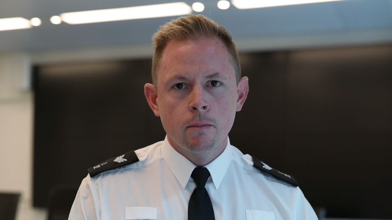 Sergeant Gareth Starr, a colleague of murdered police officer Sergeant Matt Ratana, at Scotland Yard, London.