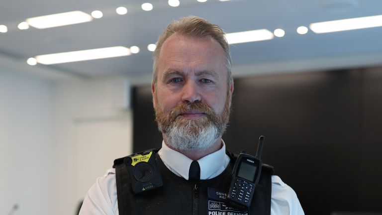 PC Paul Reading, a colleague of murdered police officer Sergeant Matt Ratana, at Scotland Yard, London.