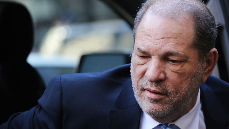 NEW YORK, NEW YORK - FEBRUARY 24: Harvey Weinstein enters a Manhattan court house as a jury continues with deliberations in his trial on February 24, 2020 in New York City. On Friday the judge asked the jury to keep deliberating after they announced that they are deadlocked on the charges of predatory sexual assault. Weinstein, a movie producer whose alleged sexual misconduct helped spark the #MeToo movement, pleaded not-guilty on five counts of rape and sexual assault against two unnamed women and faces a possible life sentence in prison. (Photo by Spencer Platt/Getty Images)