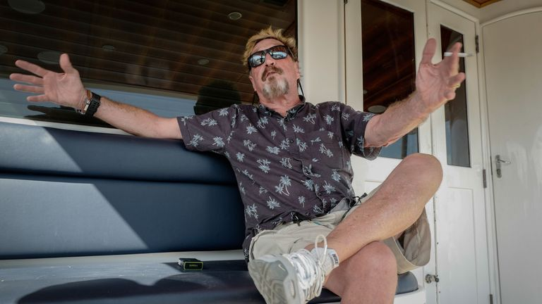 US millionaire John McAfee gestures during an interview with AFP on his yacht anchored at the Marina Hemingway in Havana, on June 26, 2019. - After making his fortune with antivirus software, McAfee fled from Belize after a murder case. (Photo by Adalberto ROQUE / AFP)        (Photo credit should read ADALBERTO ROQUE/AFP via Getty Images)