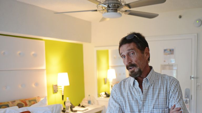 MIAMI BEACH, FL - DECEMBER 13: John McAfee poses for a portrait at his hotel in South Beach on December 13, 2012 in Miami Beach, Florida. (Photo by Larry Marano/WireImage)