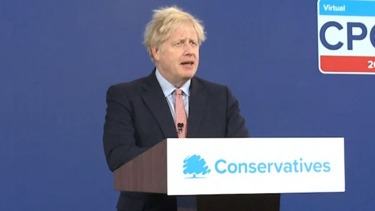 Prime Minister Boris Johnson delivers his address to the virtual Conservative Party Conference, where he announced a ??160 million boost for 'clean energy' initiative.