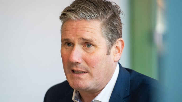 Labour Party leader Keir Starmer during a visit to Buck Street Market in Camden, north London, to call on locals to support independent businesses.