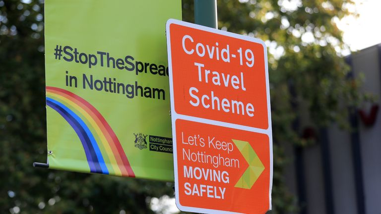 A Stop the Spread sign in Nottingham. Health officials are expecting the city to be placed in lockdown after a surge in Covid-19 cases.