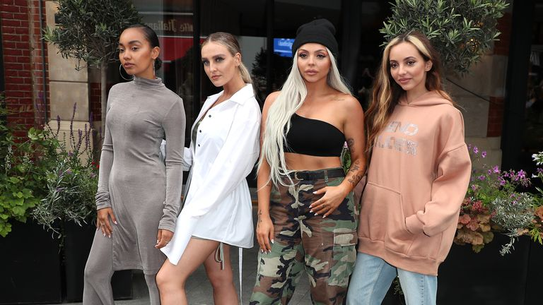 LONDON, ENGLAND - JUNE 14:  Leigh-Anne Pinnock, Perrie Edwards, Jesy Nelson and Jade Thirlwall from Little Mix seen at Global Radio Studios on June 14, 2019 in London, England. (Photo by Neil Mockford/GC Images)
