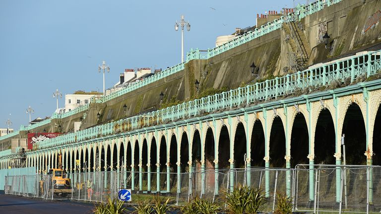 BRIGHTON, ENGLAND - JANUARY 25:  The delapidated Madeira Terrace on Brighton seafront lies fenced off, awaiting an estimated £30 million investment on January 25, 2016 in Brighton, England. It is one of the longest cast iron structures in the country at 2,837 feet.  (Photo by Mike Hewitt/Getty Images)