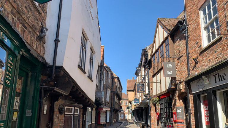 The deserted streets of York in North Yorkshire after Prime Minister Boris Johnson has put the UK in lockdown to help curb the spread of the coronavirus.
