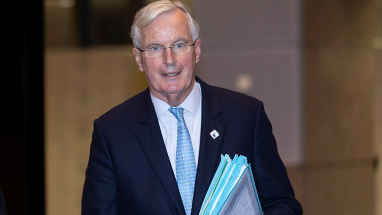 BRUSSELS, BELGIUM - OCTOBER 15: European Commissions UK Task Force Chief Negotiator, Michel Barnier is walking away at the end of a press conference during the first day of an EU Summit on October 15, 2020 in Brussels, Belgium. EU leaders meet to examine the post-Brexit negociations under pressure from British Prime Minister to give ground or see Britain walk away with no trade deal. (Photo by Thierry Monasse/Getty Images)