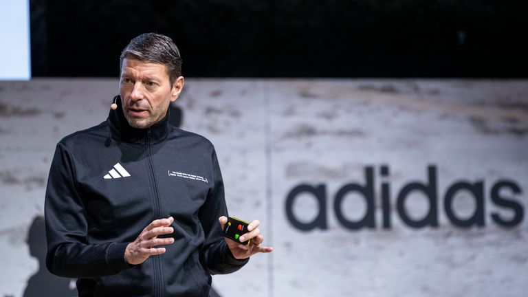 Kasper Rorsted, chairman of German sporting goods maker Adidas, speaks during his company's annual press conference on March 13, 2019 in Herzogenaurach, southern Germany. - Adidas said it booked vaulting profits in 2018, but crimped its expectations for this year as it runs into limits on production capacity. (Photo by Daniel Karmann / dpa / AFP) / Germany OUT (Photo credit should read DANIEL KARMANN/DPA/AFP via Getty Images)