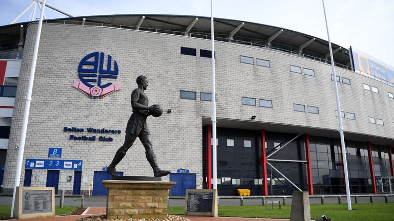BOLTON, ENGLAND - MARCH 19: General view of the University of Bolton Stadium, home of Bolton Wanderers on March 19, 2020 in Bolton, England. (Photo by Gareth Copley/Getty Images)