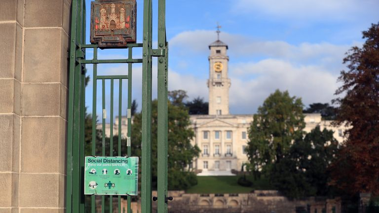 A social distancing sign at Nottingham University. Health officials are expecting the city to be placed in lockdown after a surge in Covid-19 cases.