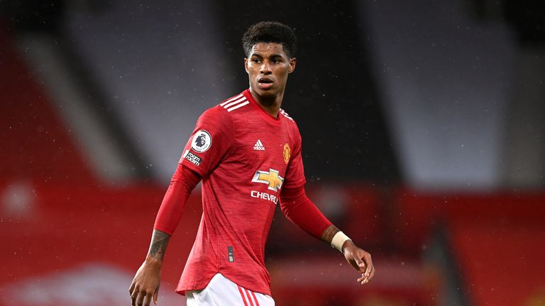Manchester United's Marcus Rashford during the Premier League match at Old Trafford, Manchester.
