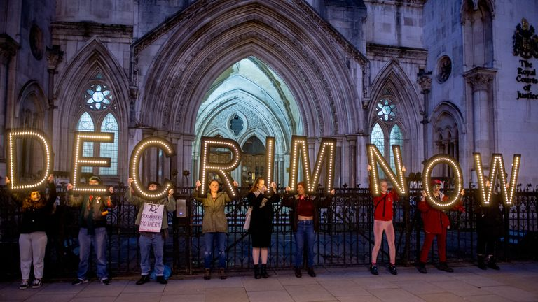 A rally for the decriminalisation of sex work was held at the Royal Courts of Justice on 8 March 2020