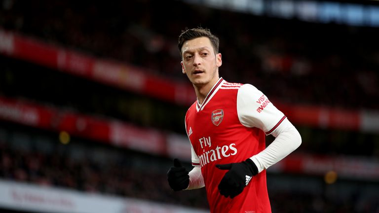 LONDON, ENGLAND - FEBRUARY 16: Mesut Ozil of Arsenal during the Premier League match between Arsenal FC and Newcastle United at Emirates Stadium on February 16, 2020 in London, United Kingdom. (Photo by Marc Atkins/Getty Images)