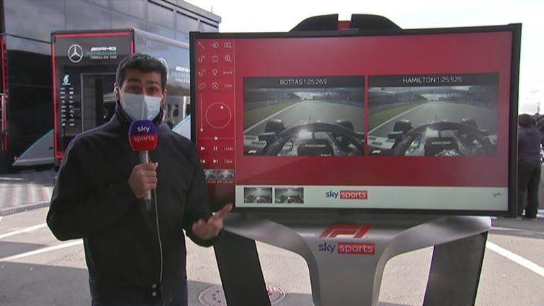 Sky F1's Karun Chandhok analyses  Mercedes duo Valtteri Bottas and Lewis Hamilton's  qualifying laps at Eifel GP .
