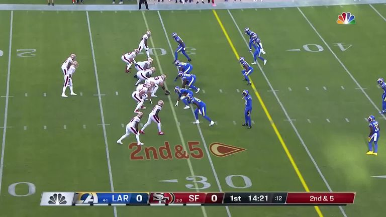49ers wide receiver Deebo Samuel made 35 yards as he refused to go down early on