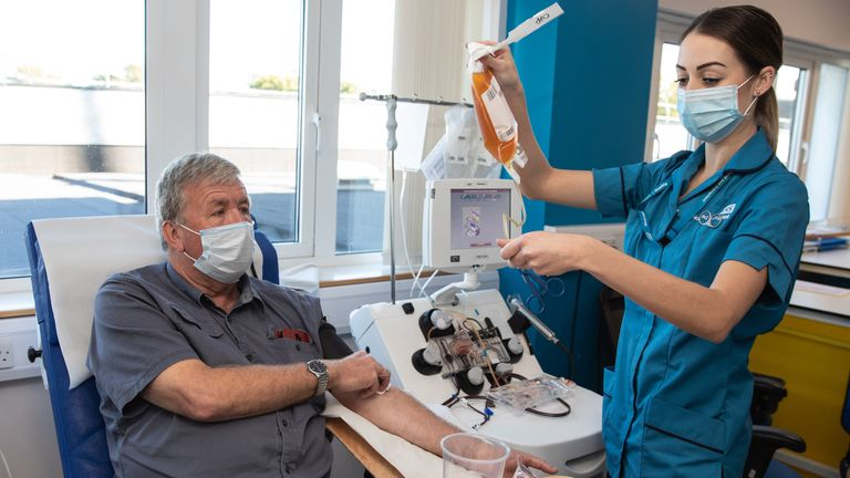 Alan Mack donates convalescent plasma for NHS Blood and Transplant  Source: NHS Blood and Transplant press release. Name confirmed by press officer.