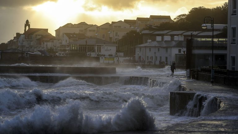 Autumn weather Oct 2nd 2020 Waves crash along the coast at Swanage in Dorset. Parts of the UK are preparing to be lashed by heavy rain and high winds as Storm Alex heralds the arrival of a stretch of bad weather over the weekend.
