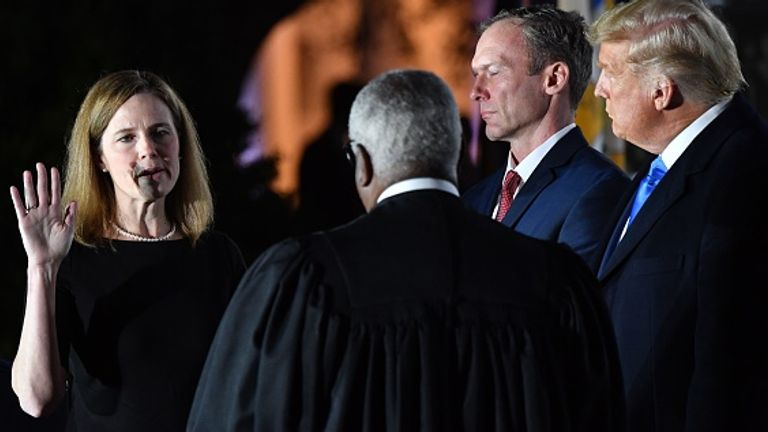 Amy Coney Barrett was sworn in at the White House