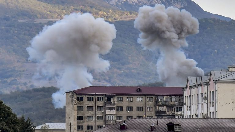 Smoke rises after shelling in Azerbaijan during the hostilities