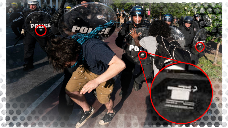 A protester in Washington is involved in a clash with officers carrying UK-made shields
