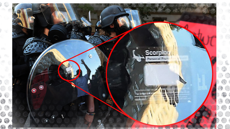 A UK-made shield, with the logo enlarged, being used during BLM protests in Washington DC