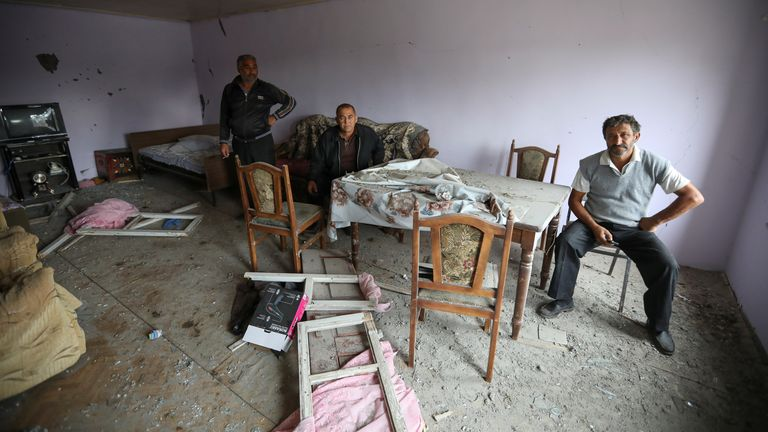 This family's home in Garagoyunlu, Azerbaijan was hit by shelling