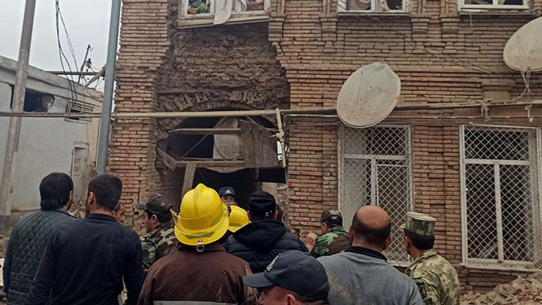 This building in Ganja had its windows blown out by the shelling