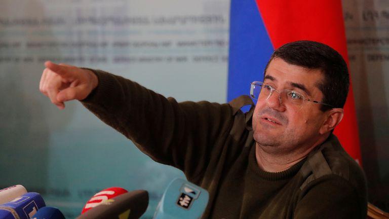 Arayik Harutyunyan, leader of Nagorno-Karabakh, said the situation was relatively calm on Sunday morning