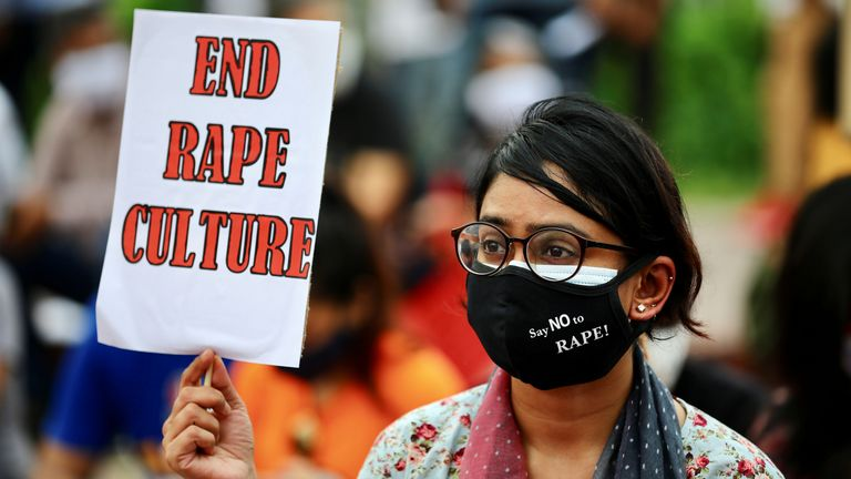protest in front of the parliamentary building, demanding justice for the alleged gang-rape of a woman in Noakhali, a southern district of Bangladesh