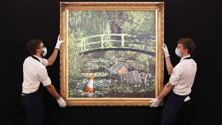 Show Me Monet is Banksy's reimagining of the iconic impressionist artwork