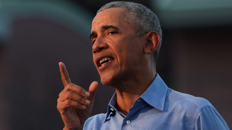 Barack Obama spoke at a drive-in rally for Joe Biden
