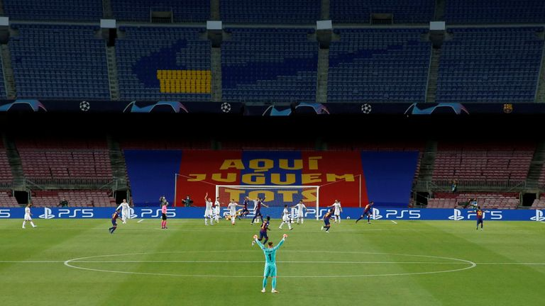 FC Barcelona v Napoli - Camp Nou, Barcelona, Spain - August 8, 2020 General view inside the stadium during the match, as play resumes behind closed doors following the outbreak of the coronavirus disease