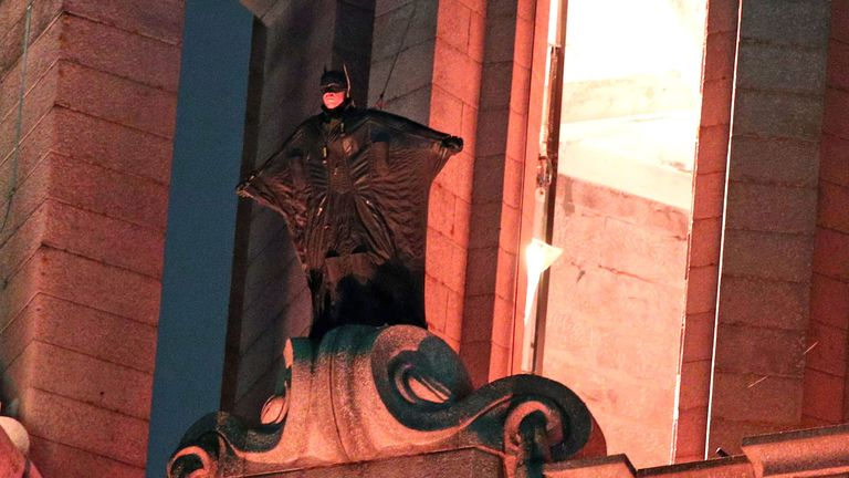 A stunt double for the Hollywood movie The Batman has been seen in Liverpool