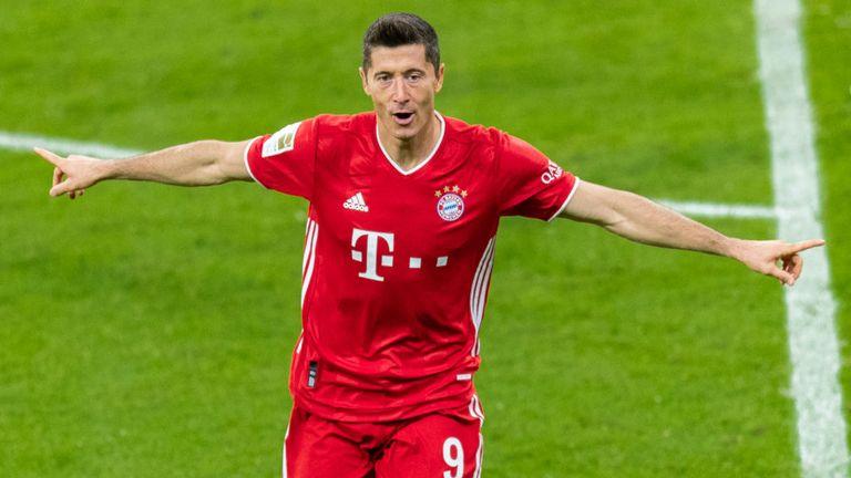 Robert Lewandowski of Bayern Munich celebrates after scoring a goal