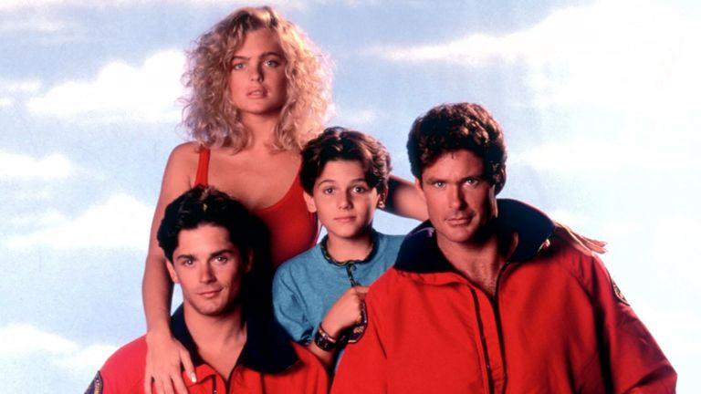 'Baywatch' - Erika Eleniak as Shauni McClain, Billy Warlock as Eddie Kramer, Jeremy Jackson s Hobie Buchannon and David Hasselhoff as Lt Mich Buchannon. Pic: Fremantle Media