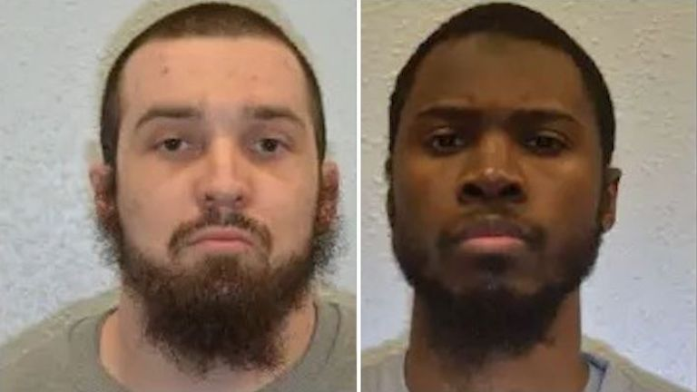 Baz Hockton (L) and Brusthom Ziamani were convicted of the attempted murder of prison officer Neil Trundle